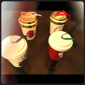 Set of 4 Starbucks Christmas Cup Ornaments